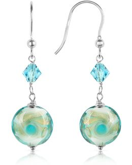 Vortice - Turquoise Swirling Murano Glass Bead Earrings