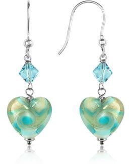 Vortice - Turquoise Swirling Murano Glass Heart Earrings