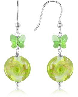 Vortice - Lime Swirling Murano Glass Bead Earrings