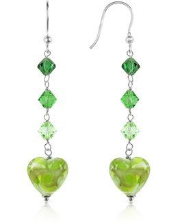 Vortice - Lime Swirling Murano Glass Heart Earrings