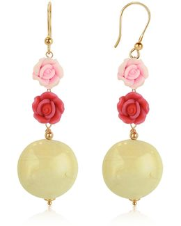Rose Murano Glass Drop Earrings