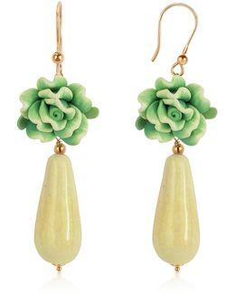 Green Rose Murano Glass Drop Earrings