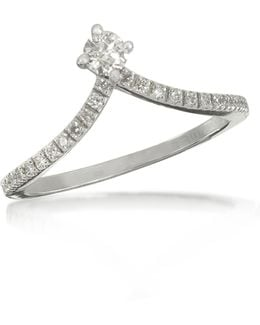 0.12 Ctw Diamond 18k White Gold Solitaire Ring