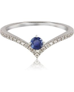 V-shaped Diamonds Band Ring With Natural Round Sapphire