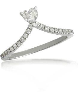 Heart Diamond V-shaped Band Ring