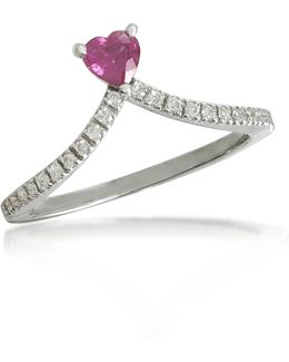 Ruby Heart V-shaped Diamonds Band Ring