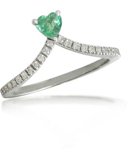 Emerald Heart V-shaped Diamonds Band Ring