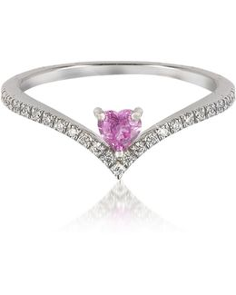 V-shaped Diamonds Band Ring With Enclosed Pink Natural Sapphire Heart