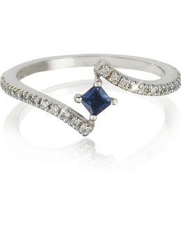 Squared Natural Sapphire 18k White Gold Ring