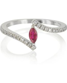White Gold Eye Shaped Ruby And Diamonds Ring