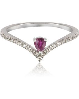 V-shaped Diamonds Band Ring With Enclosed Drop Ruby