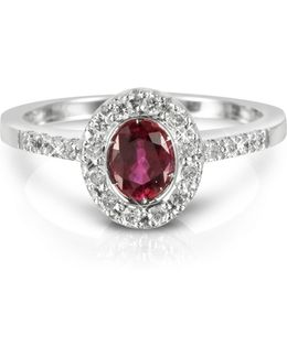 Ruby And Diamond 18k White Gold Ring