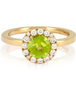0.22 Ct Diamond Pave 18k Gold Ring W/green Peridot