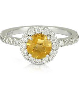 0.50 Ct Diamond Pave 18k White Gold Ring W/citrine Quartz