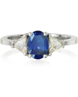Sapphire And Diamond White Gold Ring