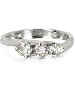 0.54 Ctw Diamond 18k White Gold Trilogy Flower Ring