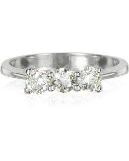0.63 Ctw Diamond 18k White Gold Trilogy Vanity Ring