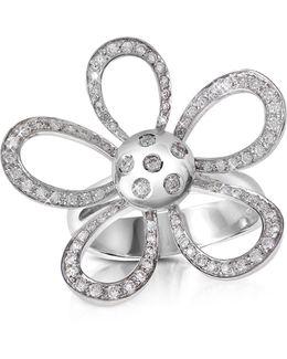 0.57ct Diamond Flower 18k Gold Ring