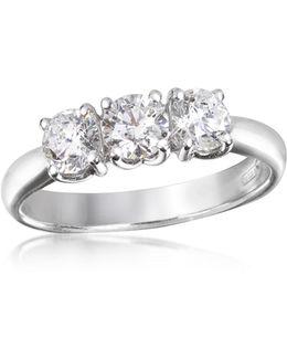 0.92 Ctw Diamond Three-stone 18k Gold Ring