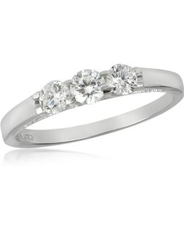 0.49 Ctw 18k White Gold Diamond Trilogy Ring