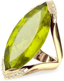 Green Gemstone And Diamond Yellow Gold Fashion Ring
