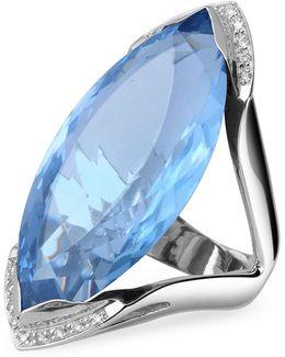 Blue Topaz And Diamond White Gold Fashion Ring