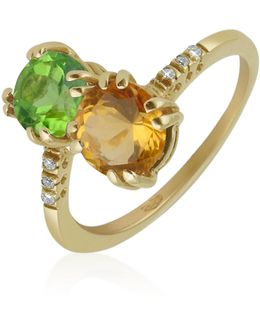 Double Gemstone And Diamond Yellow Gold Ring