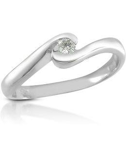 0.06 Ct Diamond 18k Gold Solitaire Ring