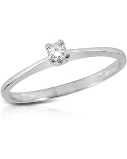 0.04 Ct Prong-set Diamond Solitaire Ring