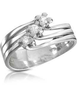 0.12 Ct Three-stone Diamond 18k Gold Ring