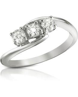 0.315 Ct Three-stone Diamond 18k Gold Ring
