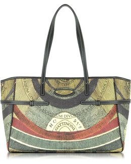 Planetarium Coated Canvas Tote W/leather Strips
