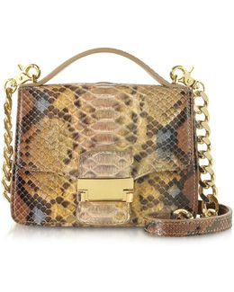 Golden Python Leather Shoulder Bag