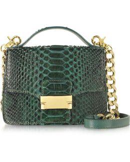 Emerald Green Python Leather Shoulder Bag