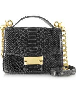 Black Python Leather Shoulder Bag