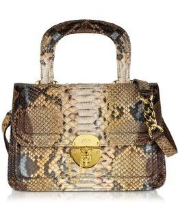 Golden Brown Python Shoulder Bag