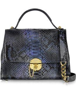 Dark Blue Python Satchel Bag W/detachable Shoulder Strap