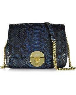 Midnight Blue Phyton Leather Shoulder Bag
