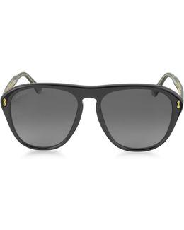 Gg0128s 007 Black Acetate Aviator Men's Sunglasses