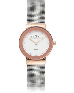 Freja Two Tone Stainless Steel Mesh Bracelet Women's Watch