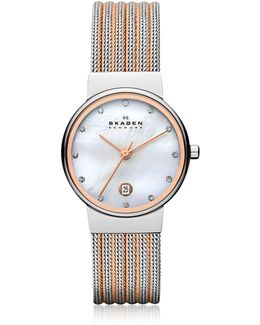 Ancher Two Tone Striped Stainless Steel Mesh Women's Watch