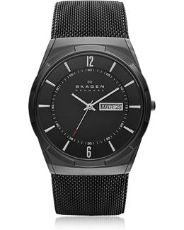 Melbye Black Stainless Steel Mesh And Titanium Case Multifunction Men's Watch