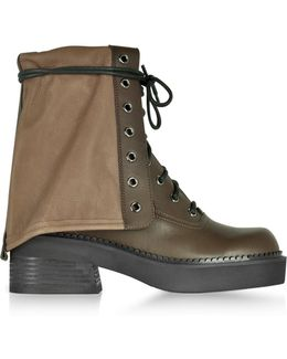 Kaki Calf Leather Combat Boots