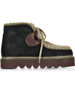 Black Suede And Shearling Booties