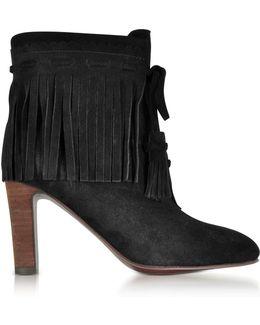 Black Suede Fringed High Heels Booties