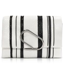 Black & White Alix Soft Flap Clutch
