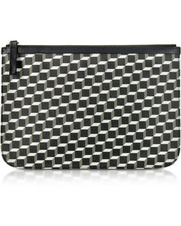 Large Black And White Cube And Stripes Canvas And Leather Pouch