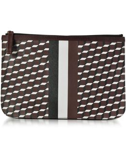 Large Burgundy And White Cube And Stripes Canvas And Leather Pouch