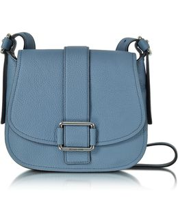 Maxine Large Denim Leather Saddle Bag