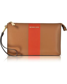 Acorn & Orange Large Daniela Center Stripe Leather Zip Clutch